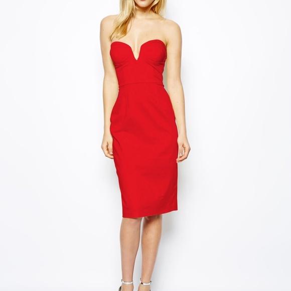 d534c63c05 ASOS Dresses   Skirts - ASOS Red Strapless Midi Dress